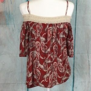 Papaya High Low Blouse Lace Around Neck Size S Red